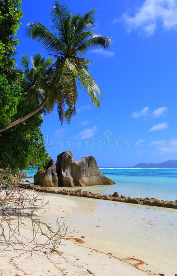 Beach Anse source d'Argent Seychelles stock photo