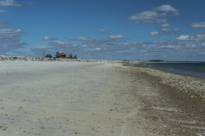 Plymouth Long Beach, MA, USA. The beach is approximately three miles in length. It begins just south of the Eel River bridge on Route 3A, and juts out almost due royalty free stock photo