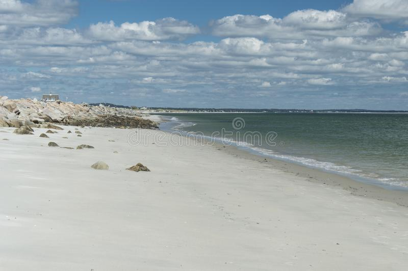Plymouth Long Beach, MA, USA. The beach is approximately three miles in length. It begins just south of the Eel River bridge on Route 3A, and juts out almost due royalty free stock image