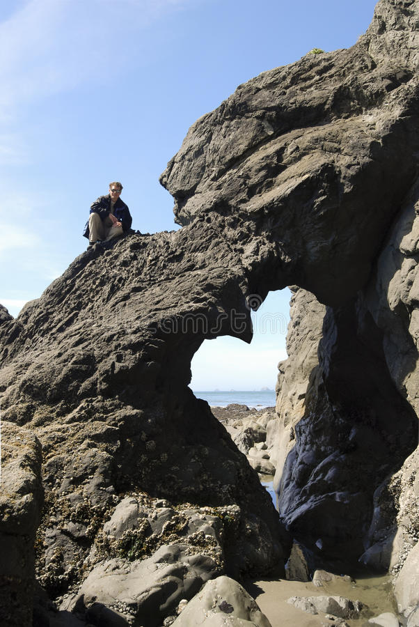 Beach Arch Heart stock photo
