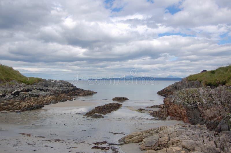 Beach at Arisaig. Looking toward the Inner Hebrides, Scotland stock photo