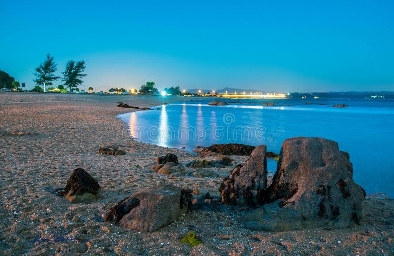 Beach at night stock images