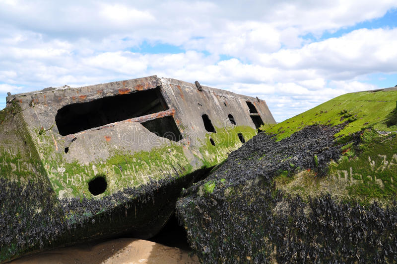 Beach of Arromanches in France. DDay Landing Beach stock photo