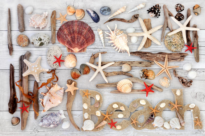 Beach Art Abstract Collage. Abstract collage with beach sign, seashells, driftwood, seaweed and rocks on distressed white wood background stock photo
