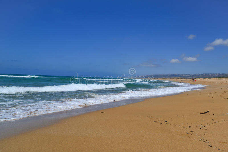 Beach in Atlit, Israel stock photo