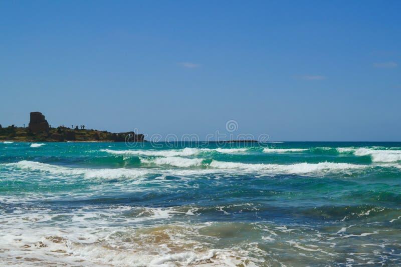 Beach in Atlite, views of Caesarea stock photography