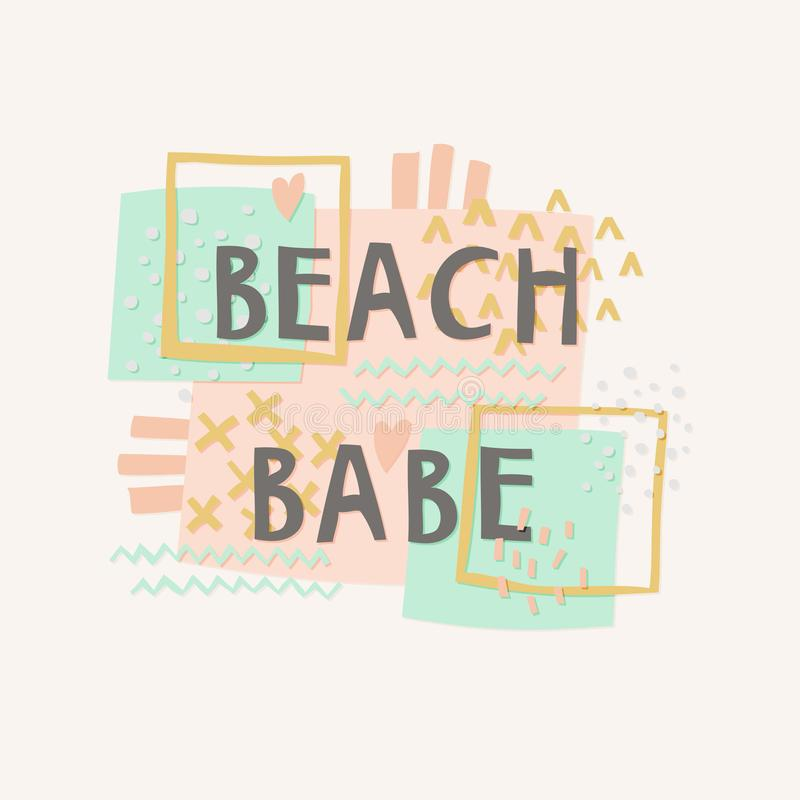 Beach Babe cut out paper lettering stock illustration