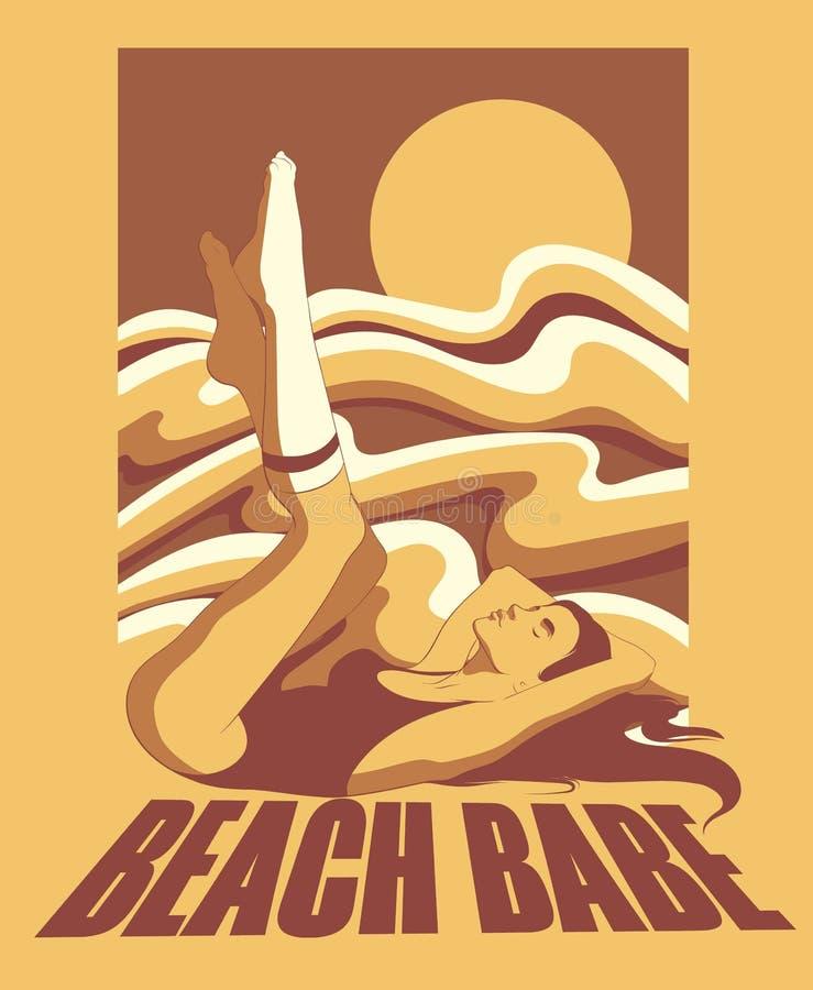 Beach babe. Vector hand drawn illustration of lying girl in swimsuit and knee socks. vector illustration