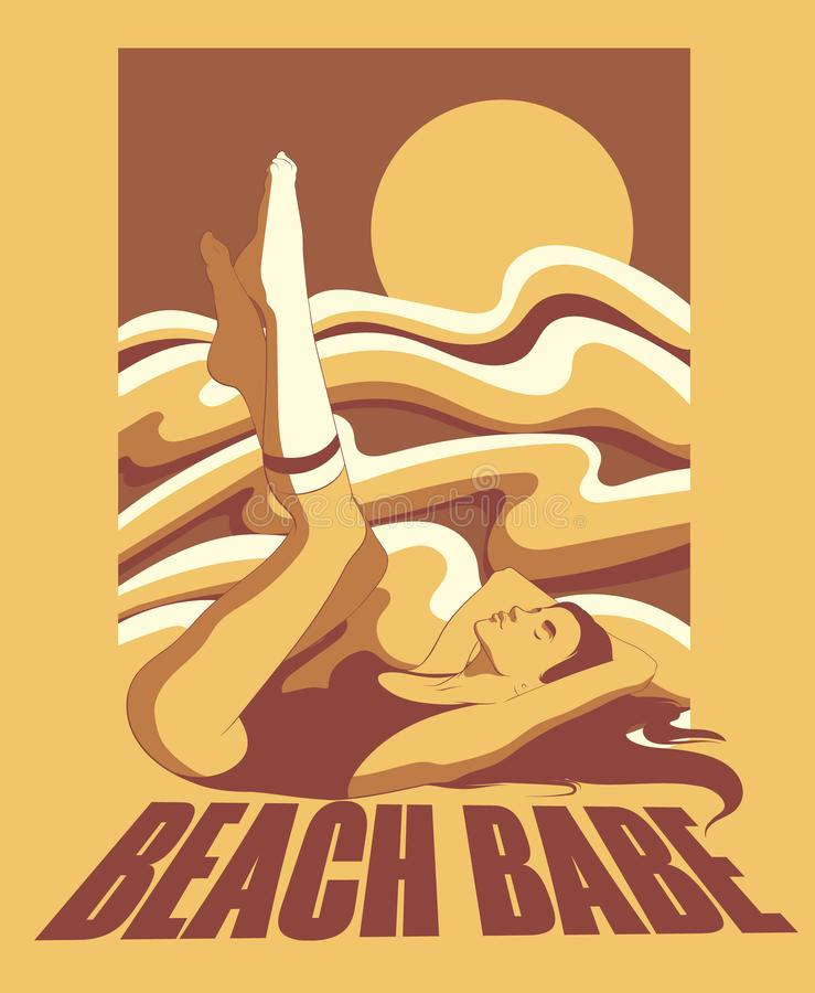 Free Beach Babe. Vector Hand Drawn Illustration Of Lying Girl In Swimsuit And Knee Socks. Stock Image - 161775551