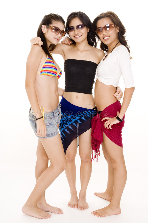 Beach Babes #19. Three cute girls in sunglasses on white background royalty free stock photo