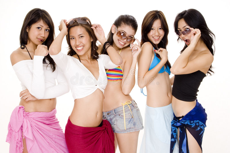 Beach Babes #4. Five cute young asian women in summer wear on white background stock photo