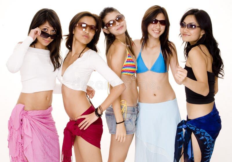Beach Babes #8. Five cute young asian women in summer clothes having fun stock photography