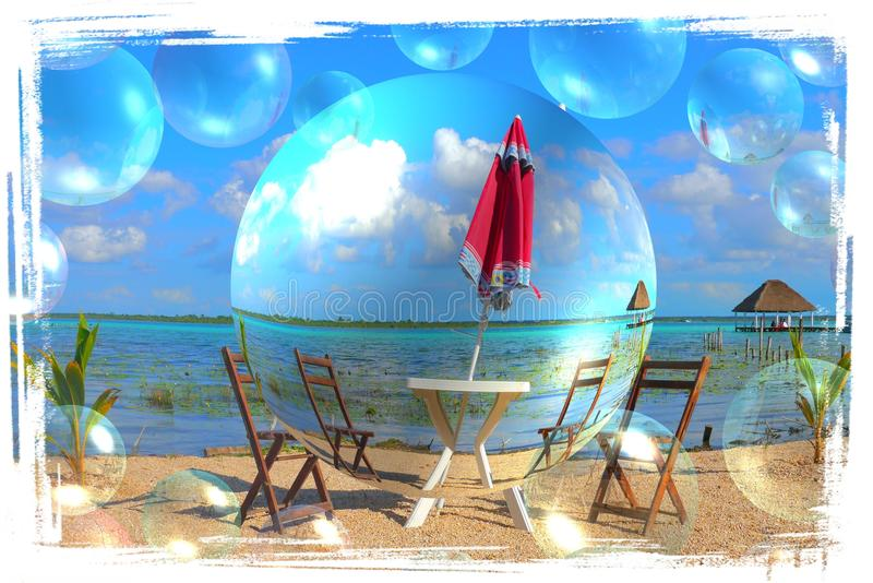 Beach Bacalar Mexico summer time holiday lake lagoon. Travel sun stock images