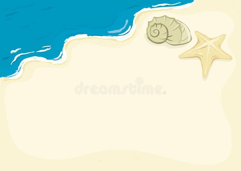 Beach background. Vector Background - seashells on the beach royalty free illustration