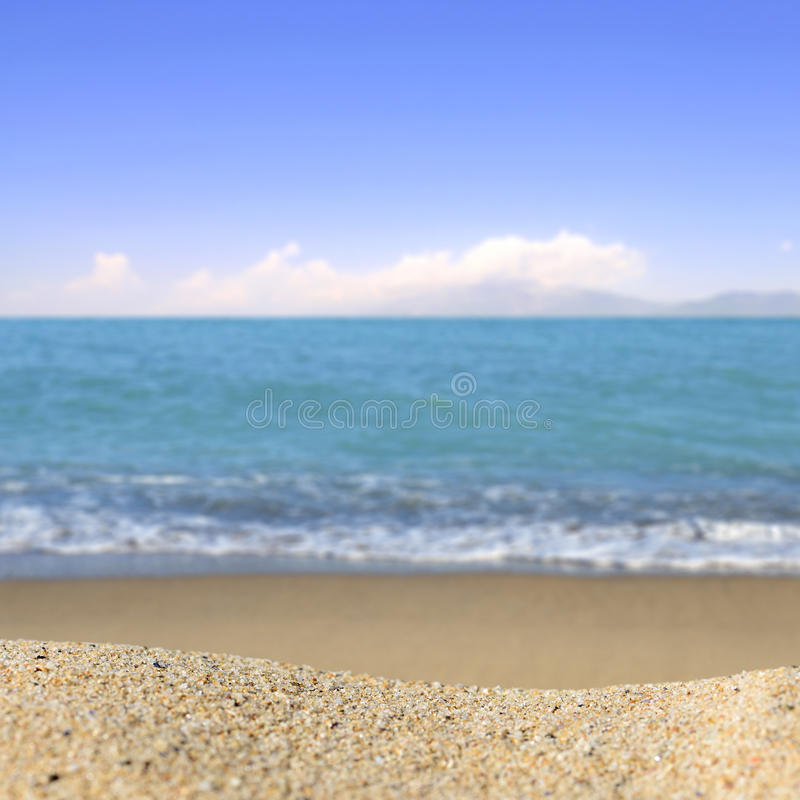 Beach background with a heap of sand on a background of sky royalty free stock images