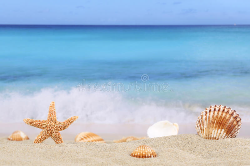 Beach background scene in summer on vacation with sea and copyspace stock photos
