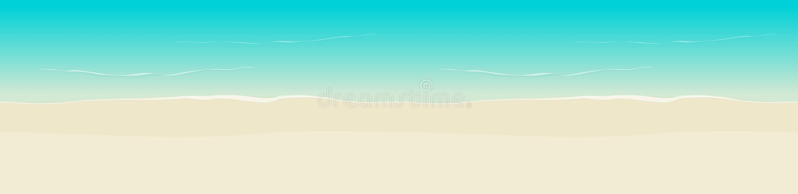 Beach background vector seamless illustration top view, flat cartoon sea coast and beach sand backdrop backdrop template royalty free illustration