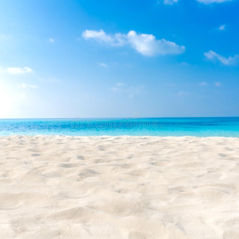 Sand Beach In Summer Sky Background: Beach Background. White Sand, Blue Sky And Blue Sea