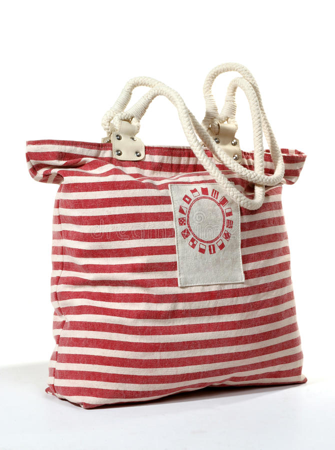 Beach Bag. A striped beach bag shot in the studio royalty free stock photography