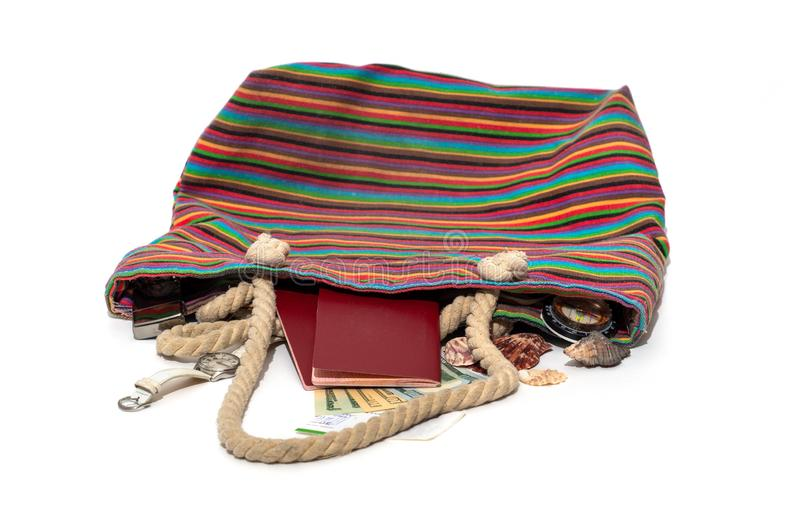 Beach bag dropped, things in royalty free stock photos