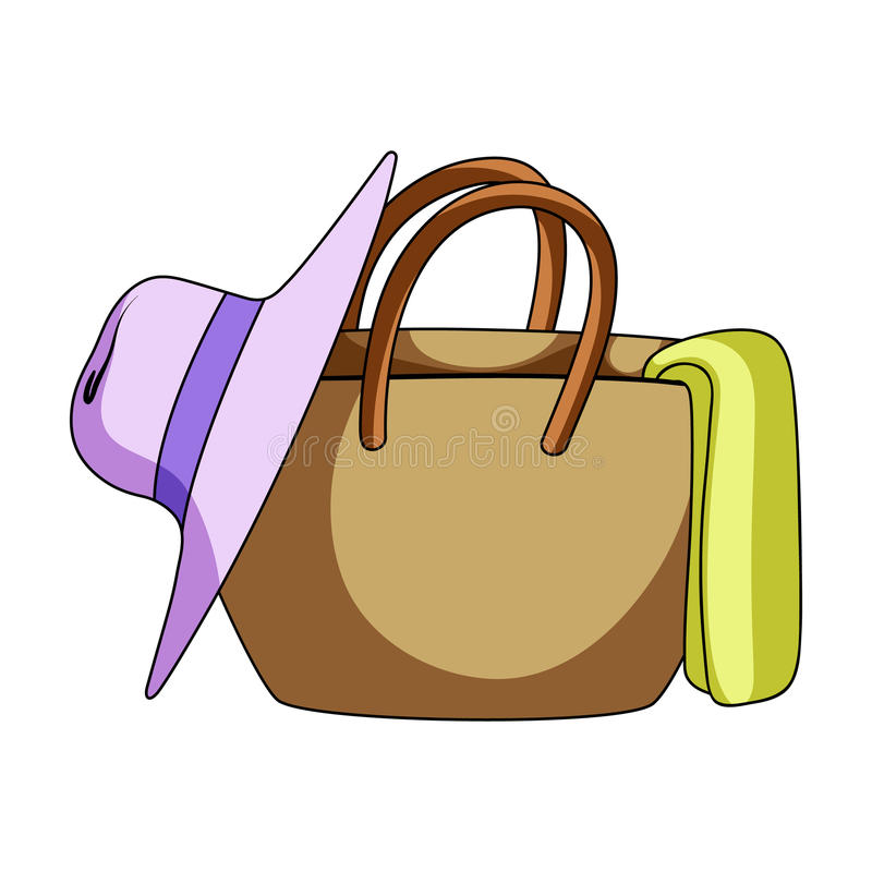 Beach bag with hat.Summer rest single icon in cartoon style vector symbol stock illustration. royalty free illustration