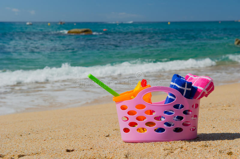 Download Beach bag stock image. Image of spain, pink, towels, shovel - 32873625