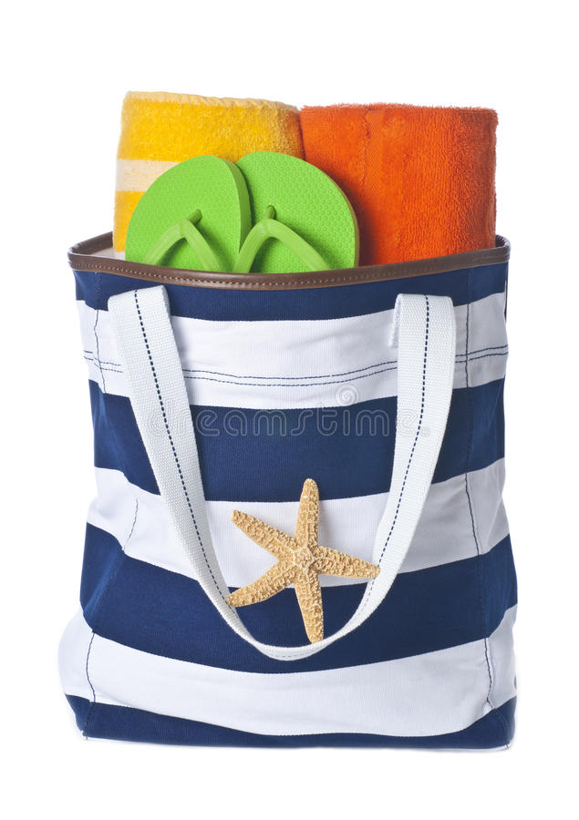 Free Beach Bag With Towels And Flip Flop Stock Images - 19612714