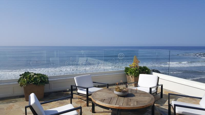 Beach balcony view royalty free stock photography