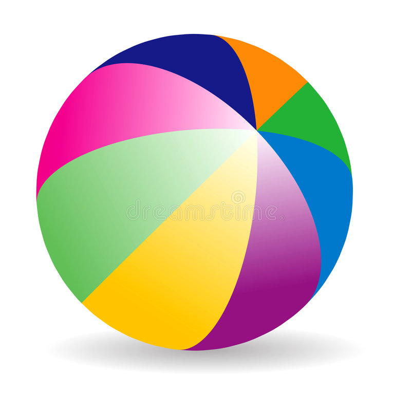 Beach ball. Beach color ball on isolated background royalty free illustration