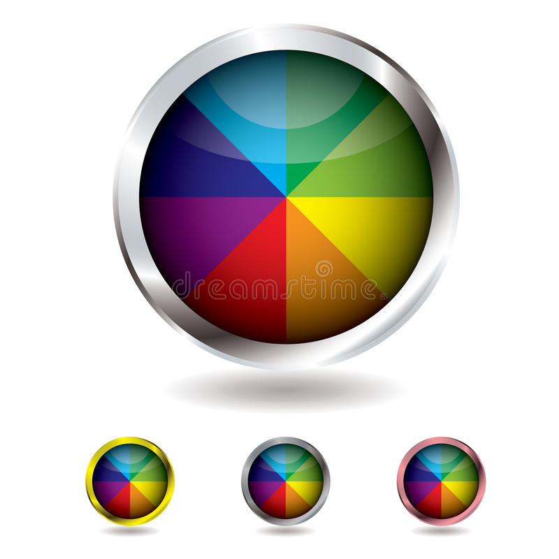 Beach ball button. Brightly colored beach ball button with metal bevel and shadow royalty free illustration