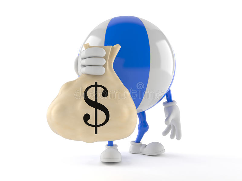 Beach ball character with money bag stock illustration