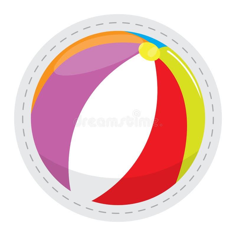 Beach ball dotted sticker stock illustration
