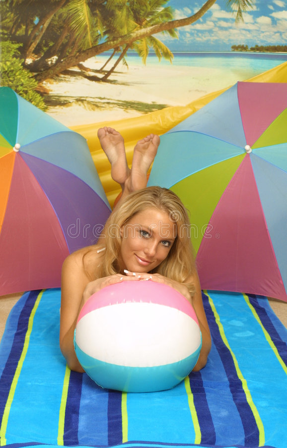 Download Beach ball girl stock image. Image of blue, ball, lovely - 171963