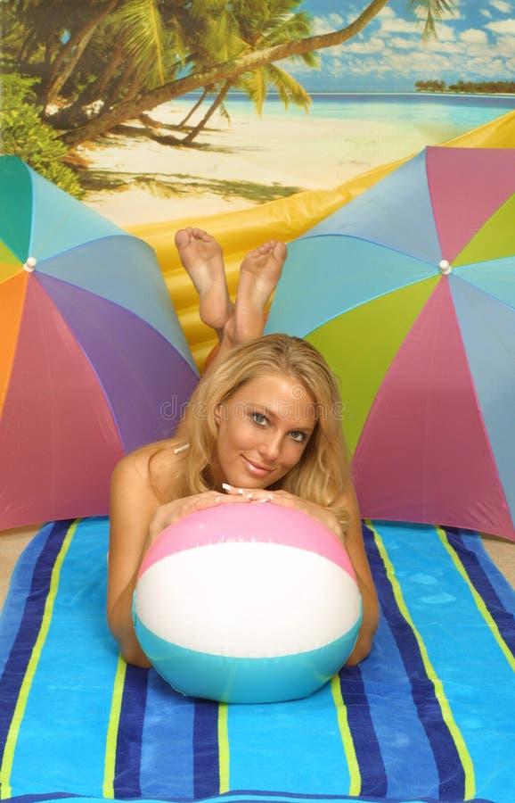 Beach ball girl stock photos