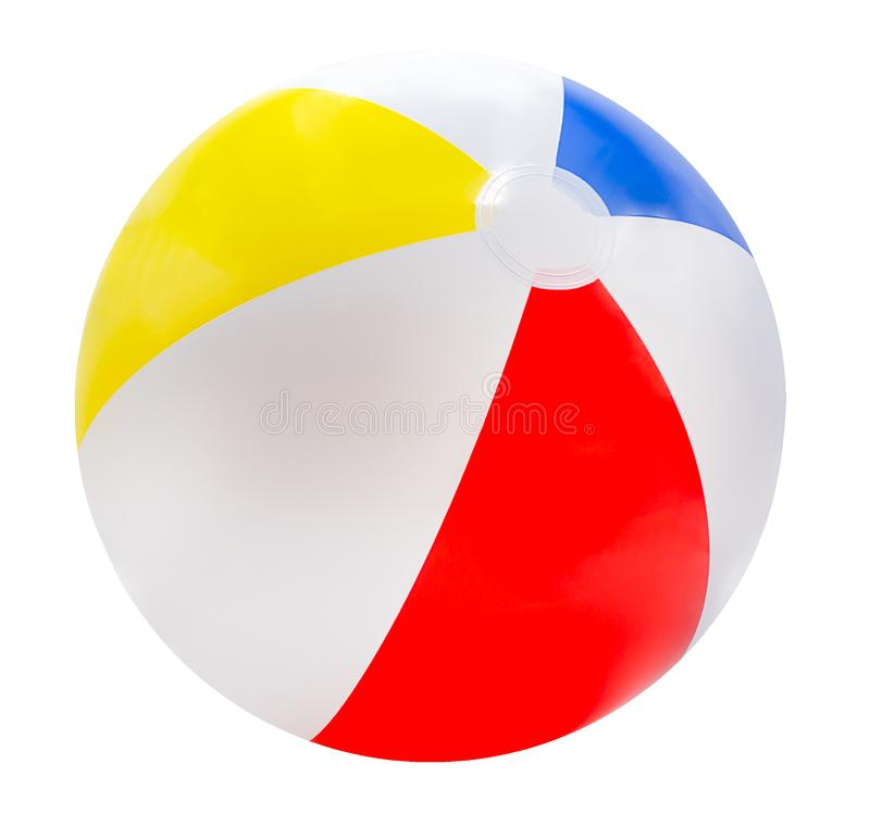 Free Beach Ball Isolated On White Background With Red, Yellow, Blue And White.with Clipping Path Royalty Free Stock Images - 164933549