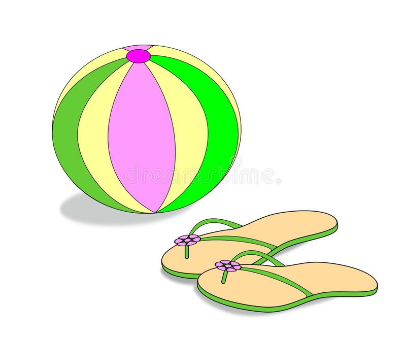Beach Ball and Sandals royalty free illustration