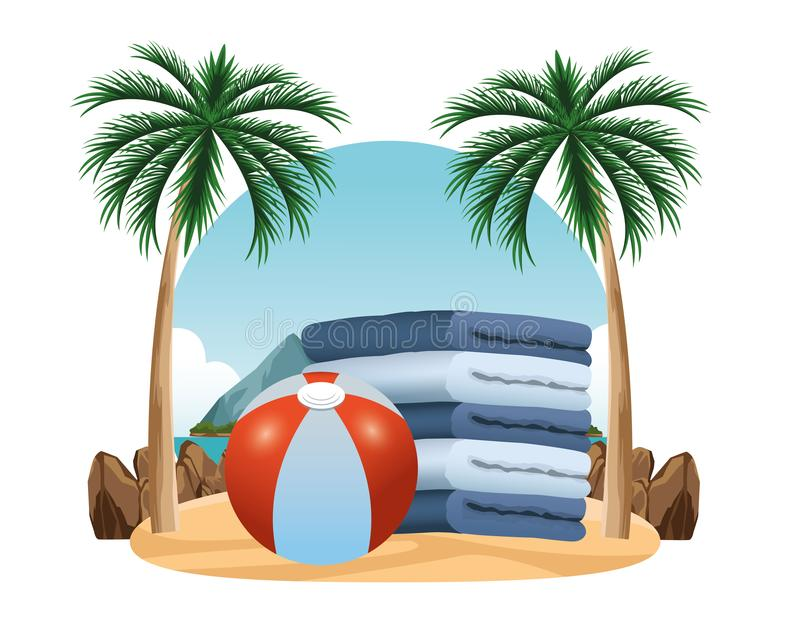 Beach ball and towels piled up. In the beach scenery background ,vector illustration graphic design royalty free illustration