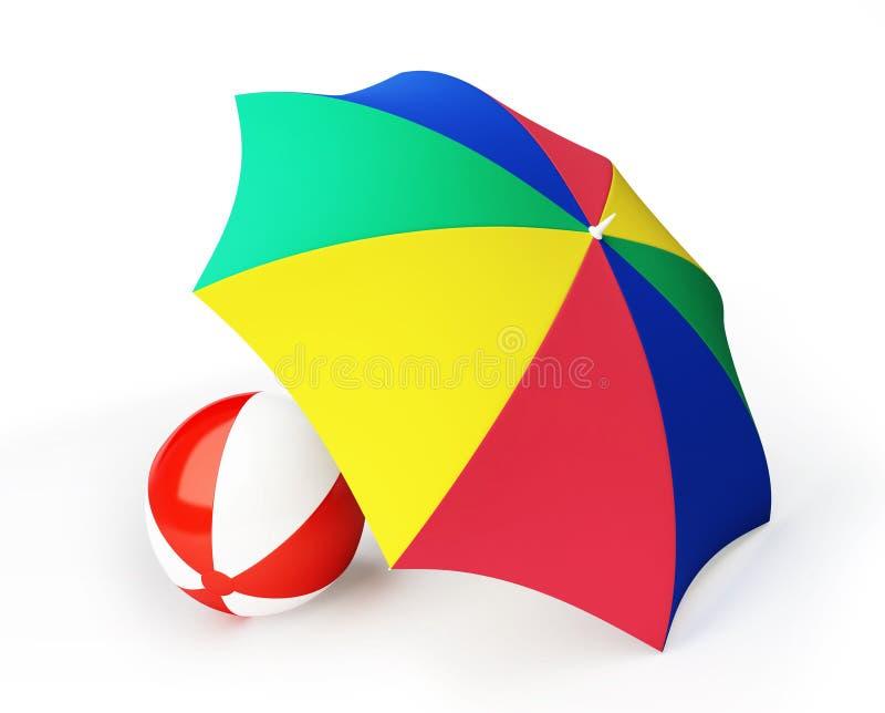Download Beach ball umbrella beach stock illustration. Image of beach - 14748422