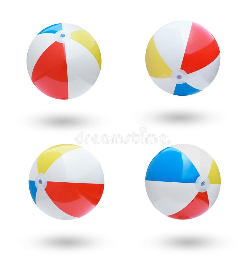 Beach balls. Collection isolated on white background stock image