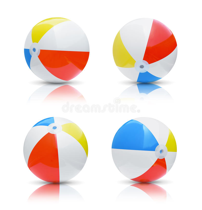 Beach balls. Collection of beach balls isolated on white background royalty free stock photo