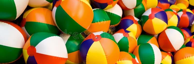 Beach Balls Panorama. Panoramic web banner colorful beach balls stock images