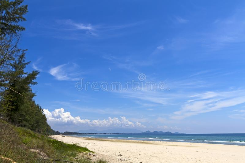 Beach Ban Krut Beach with pine and hot. Sunshine at  Prachuap Khirikhun Province, Thailand is famous for travel royalty free stock photography