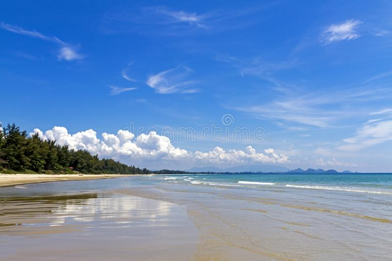 Beach Ban Krut Beach beautiful with bright sky. At  Prachuap Khirikhun Province, Thailand is famous for travel royalty free stock photos