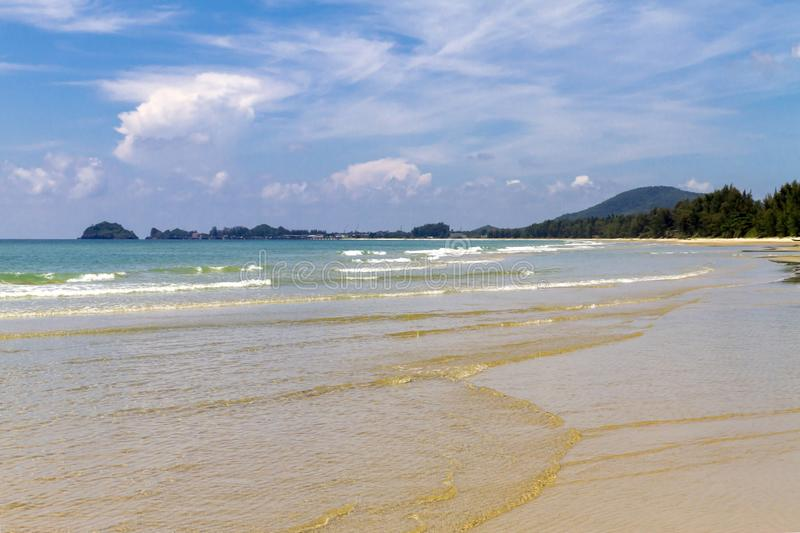 Beach Ban Krut Beach beautiful with daylight. At  Prachuap Khirikhun Province, Thailand is famous for travel stock image