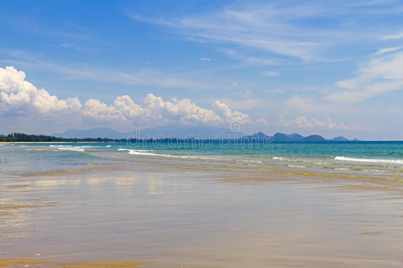 Beach Ban Krut Beach beautiful with sunshine. At  Prachuap Khirikhun Province, Thailand is famous for travel royalty free stock photos
