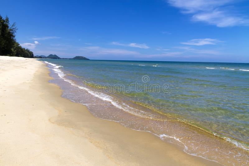 Beach Ban Krut Beach idyllic with sky in summer. At  Prachuap Khirikhun Province, Thailand is famous for travel stock photography