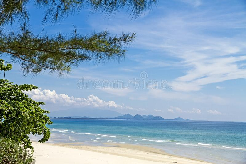 The beach Ban Krut Beach with pine and cloud. At Prachuap Khirikhun Province, Thailand is famous for travel stock photography