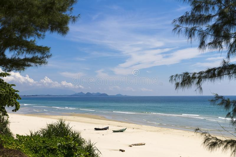 The beach Ban Krut Beach with pine and sky. At  Prachuap Khirikhun Province, Thailand is famous for travel royalty free stock photo