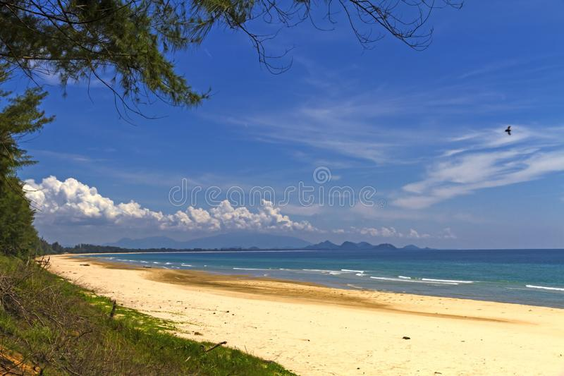 Beach Ban Krut Beach with pine and sunshine. At  Prachuap Khirikhun Province, Thailand is famous for travel stock photography