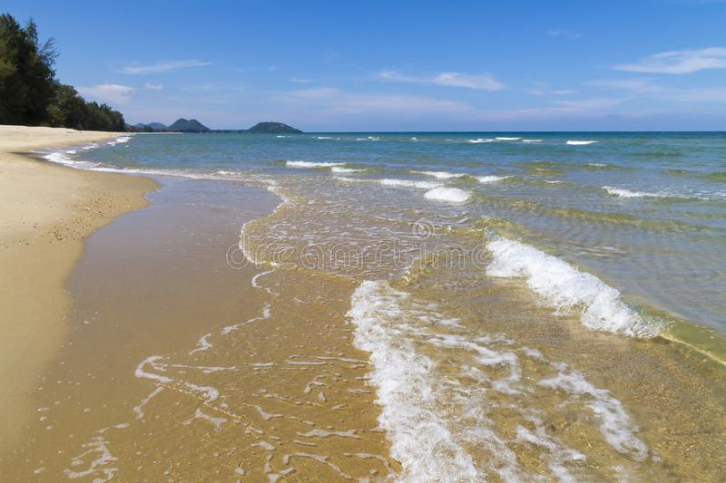 Beach Ban Krut Beach with sunlight in summer. At  Prachuap Khirikhun Province, Thailand is famous for travel royalty free stock photo